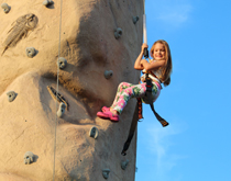 High climbing fun with our new bungee bounce/rock wall combo unit